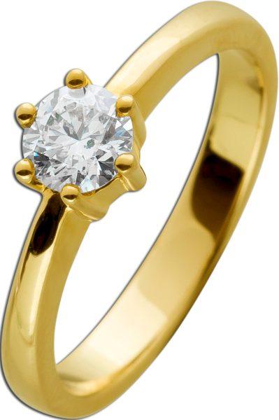Solitärring Gold 585 Brillant 0,49ct TW/IF-VVS Gelbgold 14kt Görg Zertifikat Diamantring Gr. 17,5mm